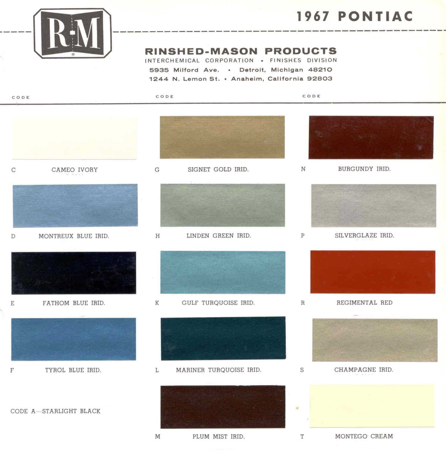 Color Code and Paint Color Chart for Pontiac in 1967