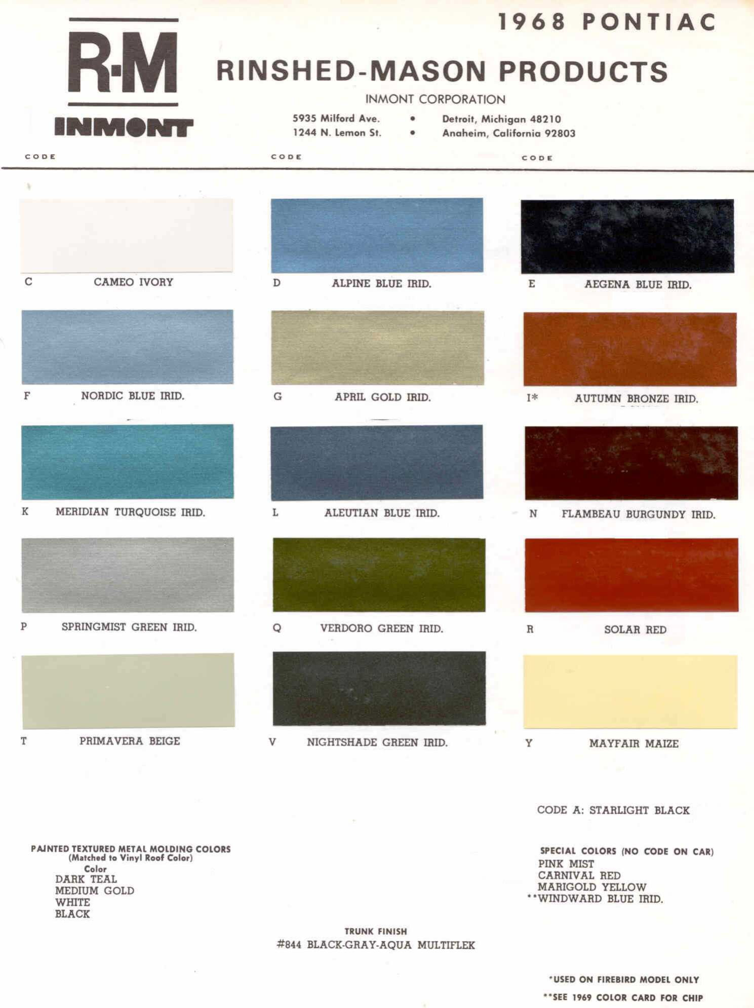 Color Code and Paint Color Chart for Pontiac in 1968