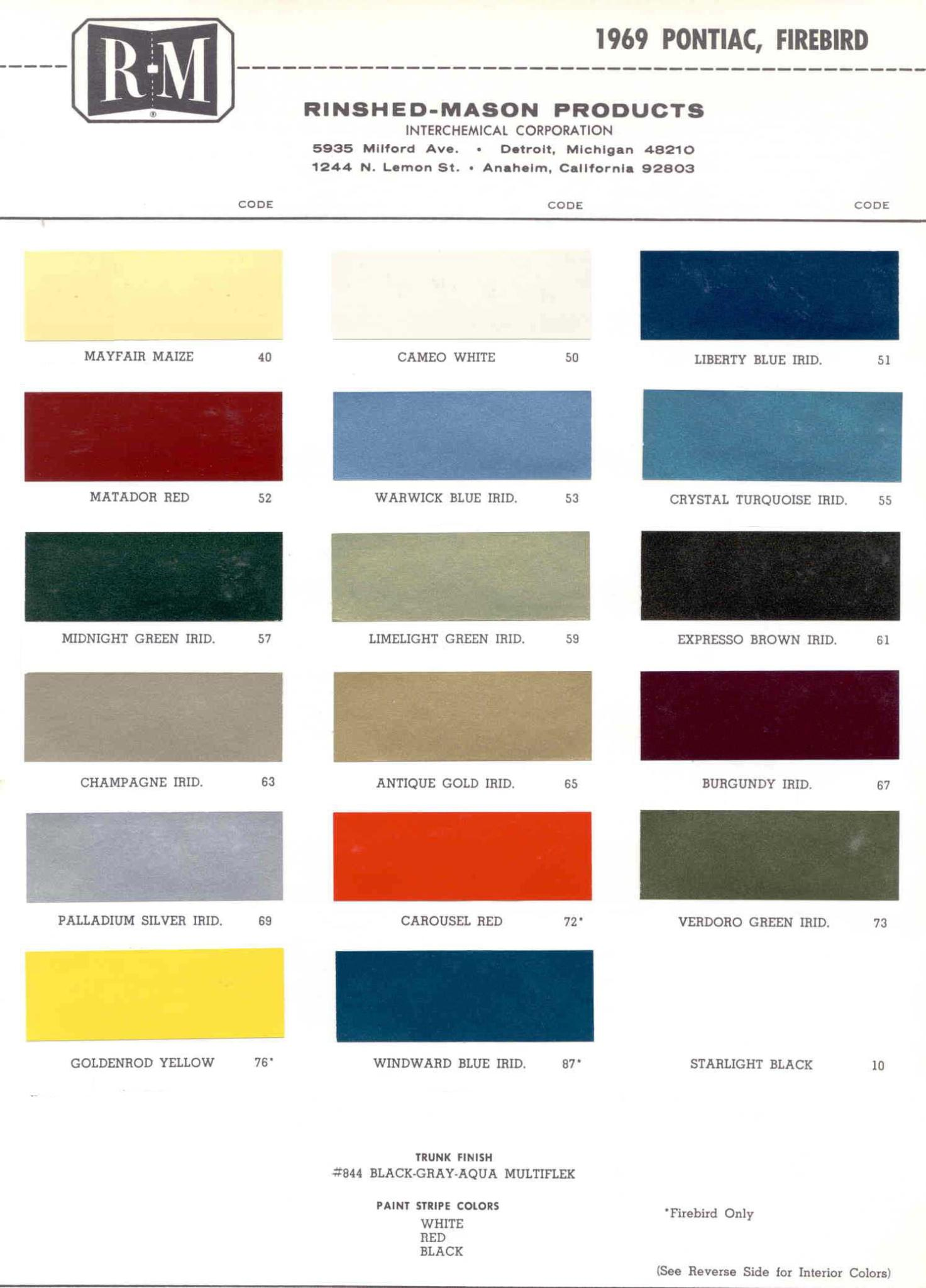 Color Code and Paint Color Chart for Pontiac in 1969
