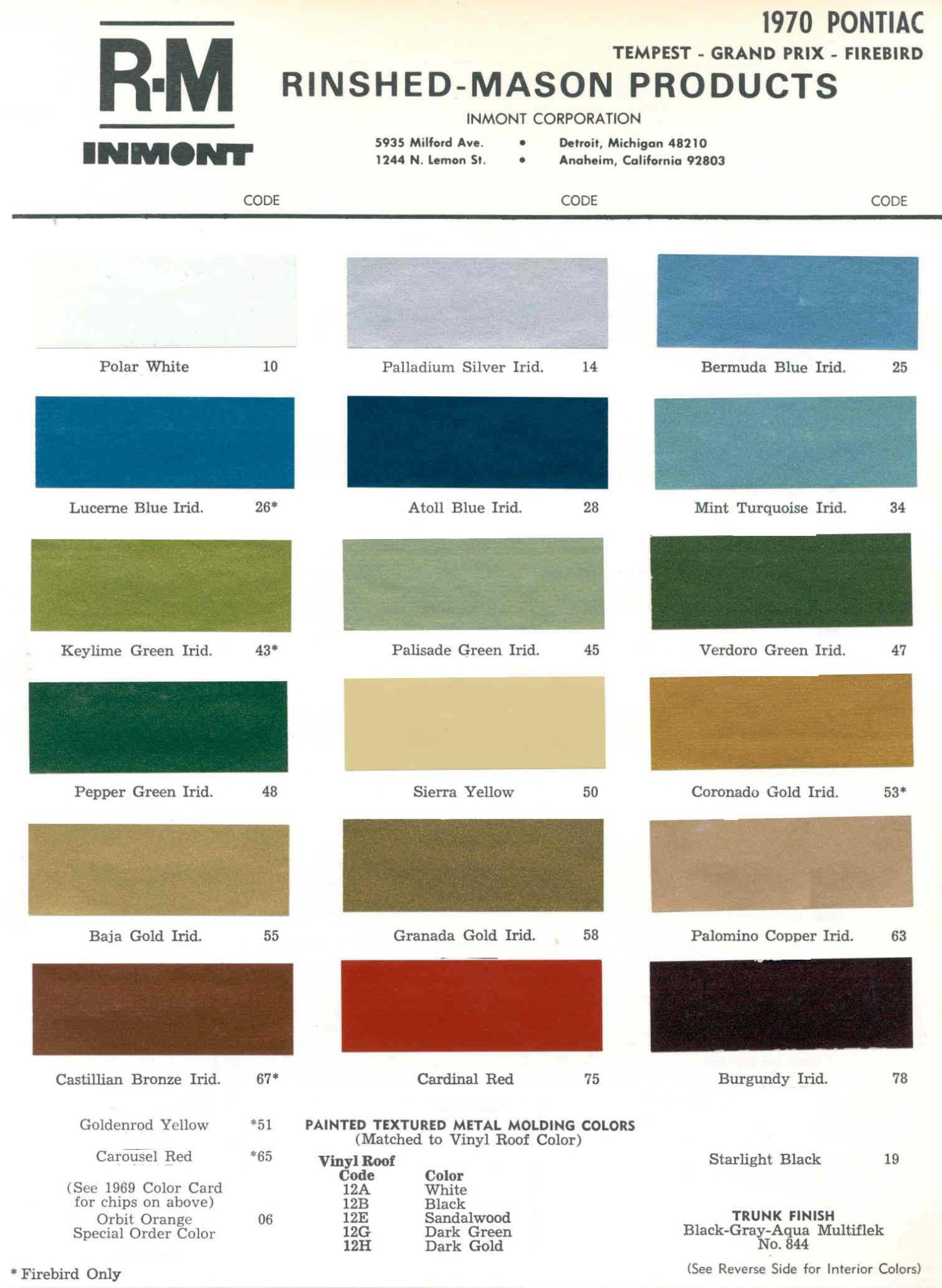 Color Code and Paint Color Chart for Pontiac in 1970