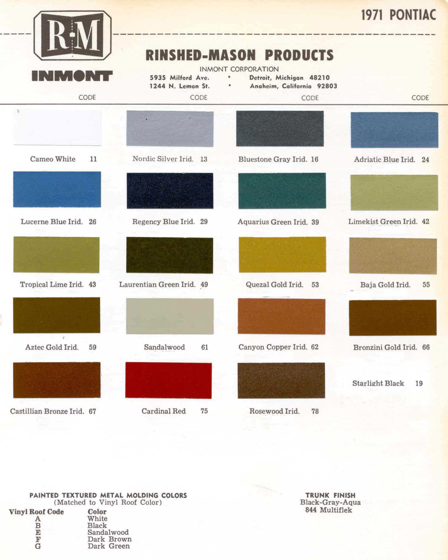 Color Code and Paint Color Chart for Pontiac in 1971