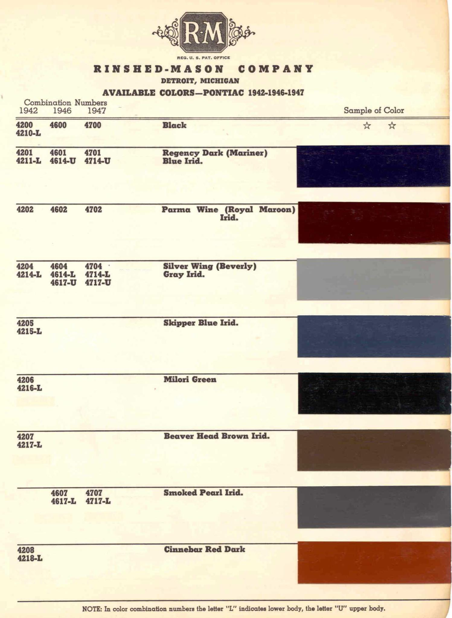 Color Code and Paint Color Chart for Pontiac for 1942-1947
