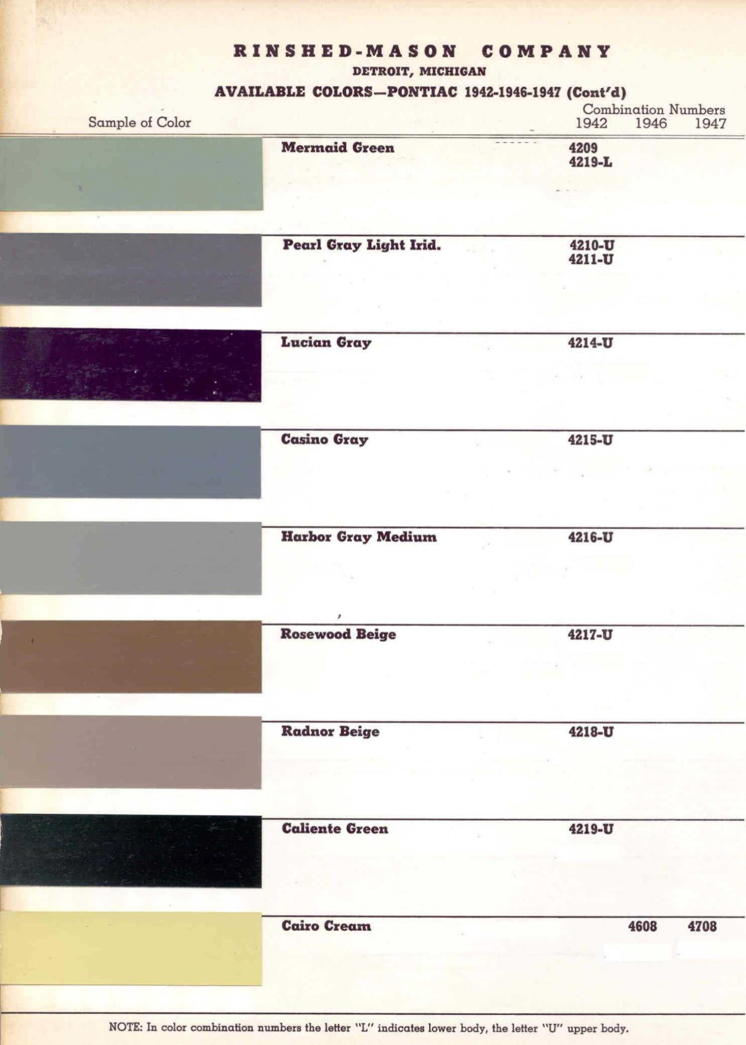 Color Code and Paint Color Chart for Pontiac for 1942-19477