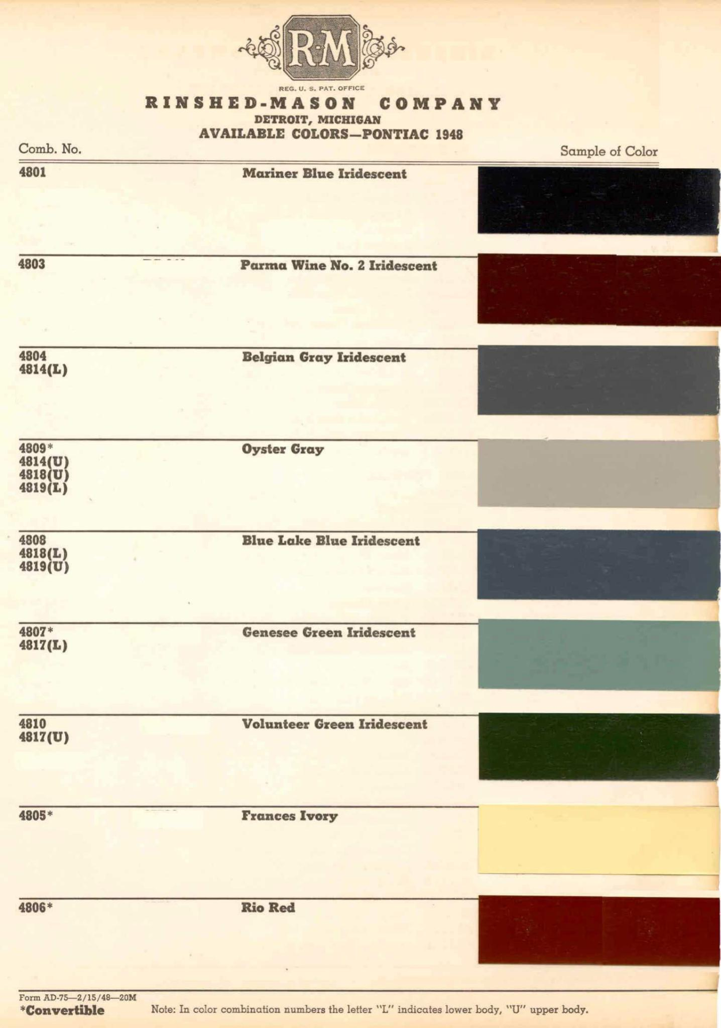 Color Code and Paint Color Chart for Pontiac for 1948