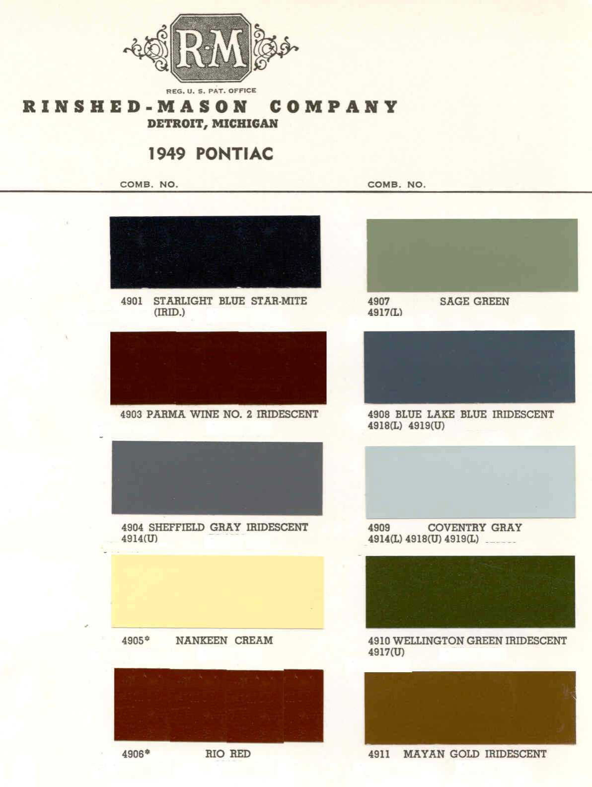 Color Code and Paint Color Chart for Pontiac for 1949