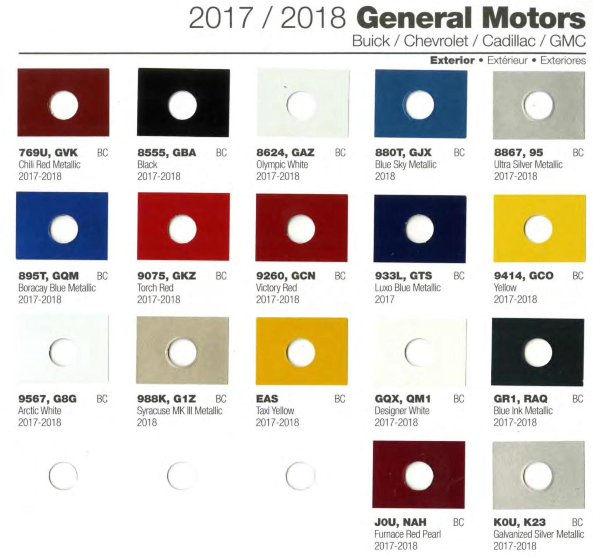 Codes for Buick, Chevrolet, Cadillac, and Gmc Motor vehicles