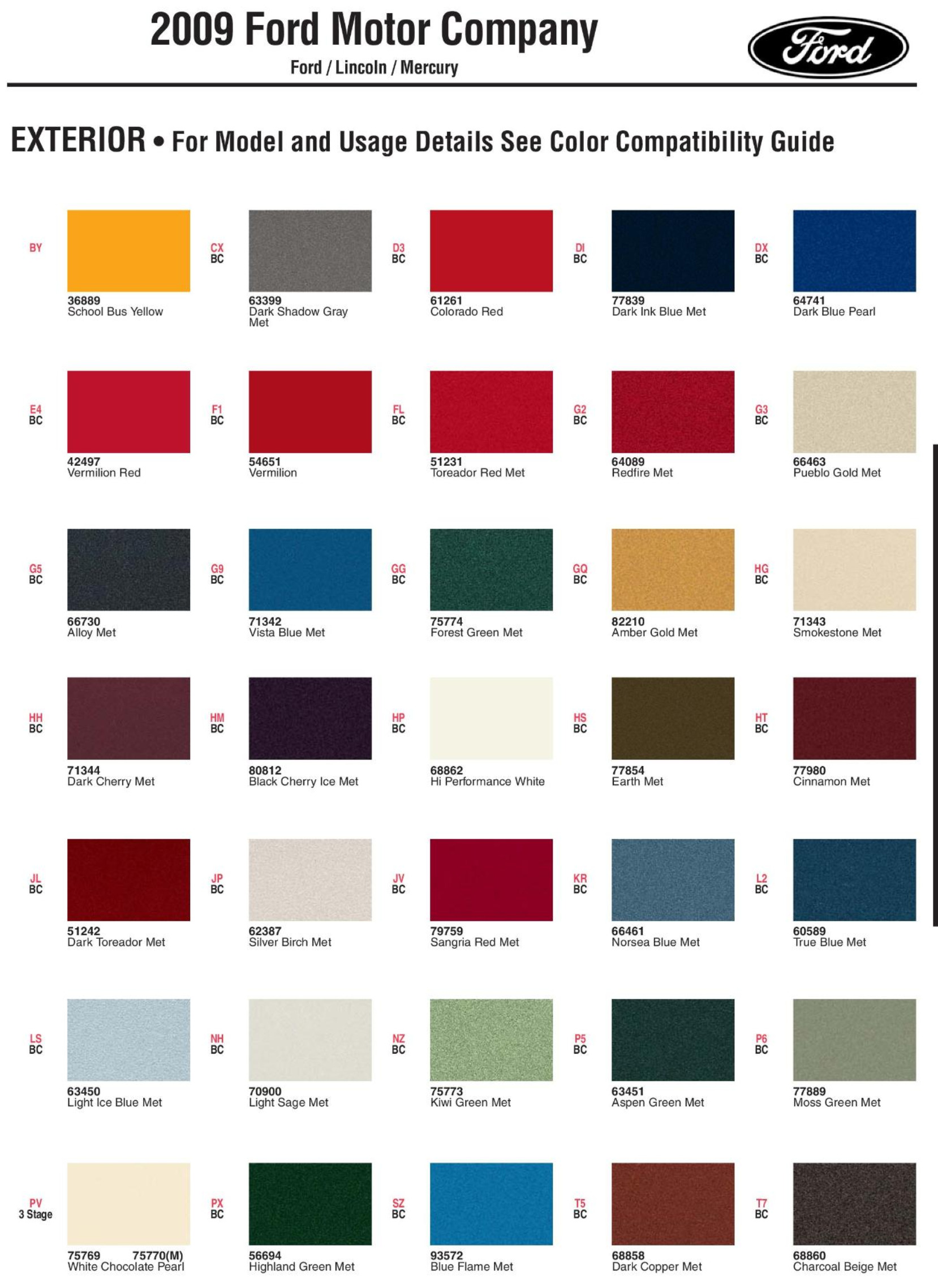 Ford Digital Color Code Chart Library