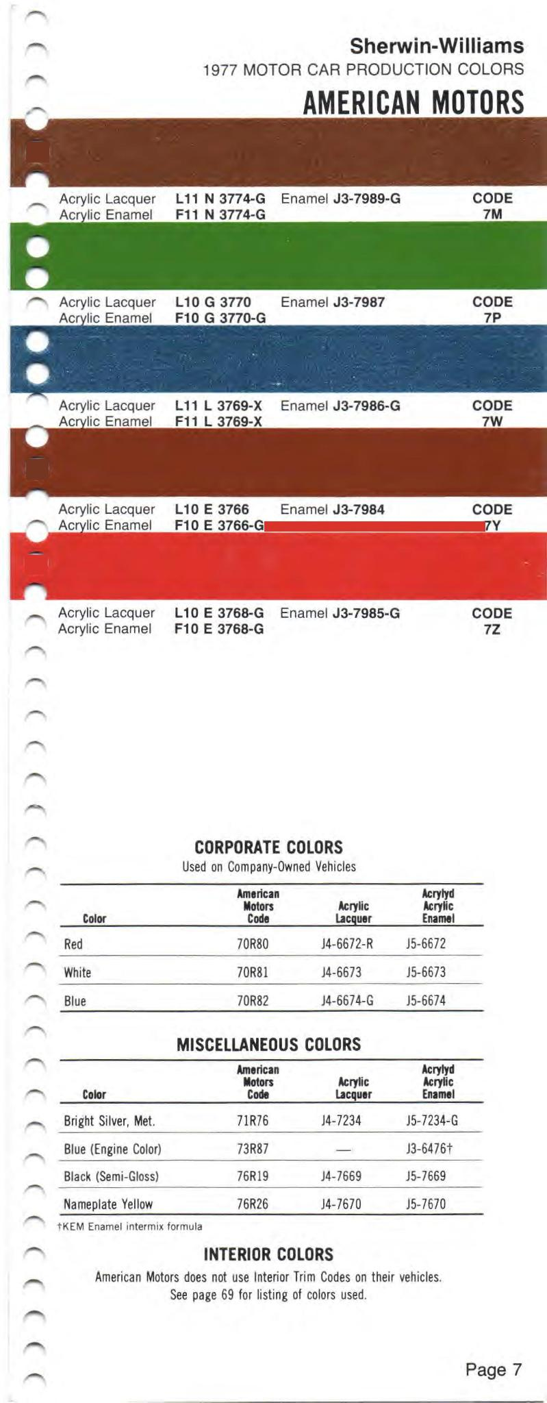 Amc Paint Code and Color Chart
