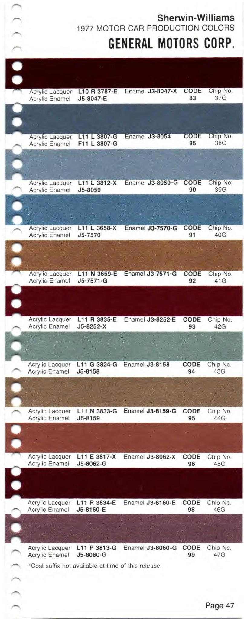 Paint Code Color Chart
