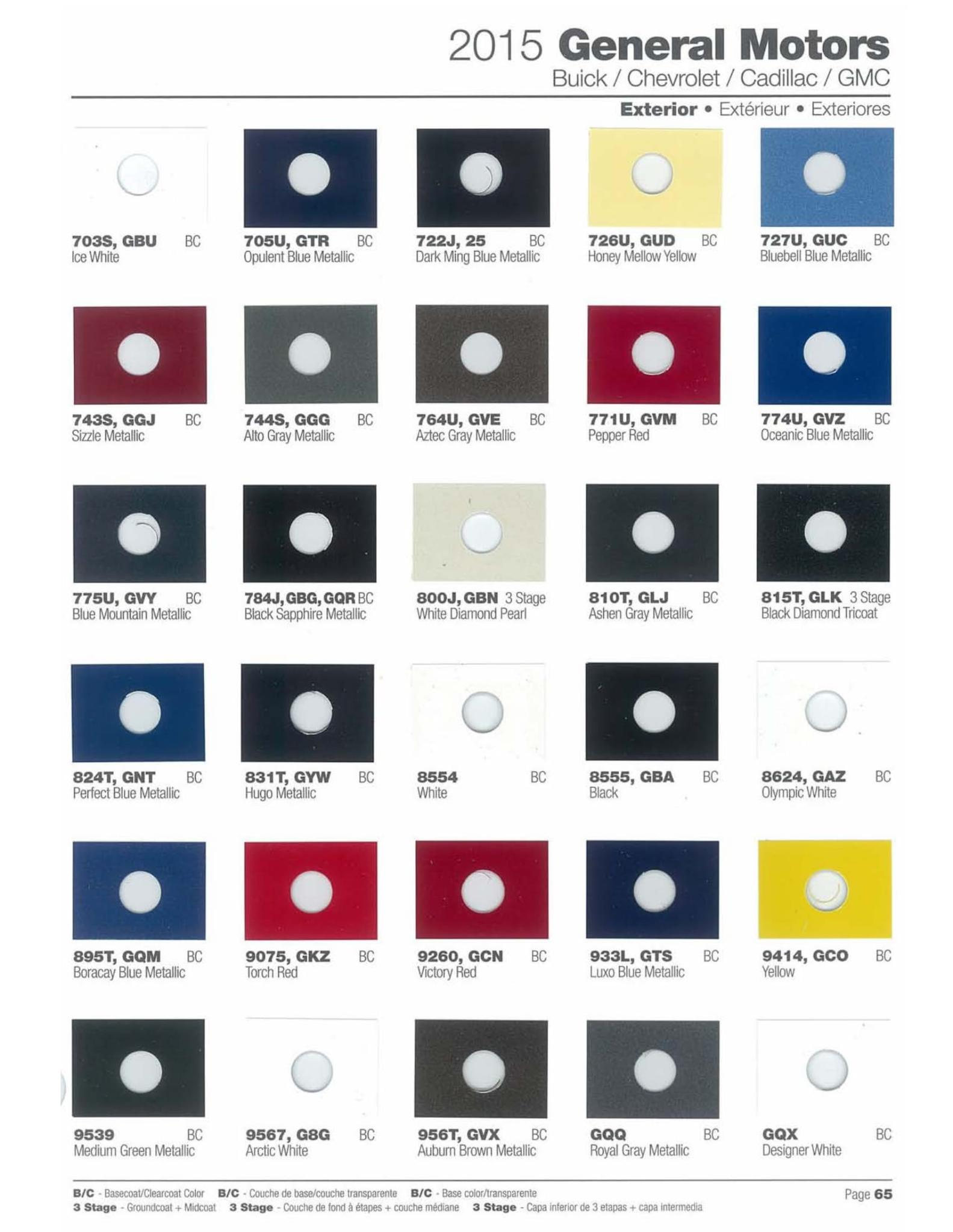 Paint Code and Color Chart for all 2015 Gm Models