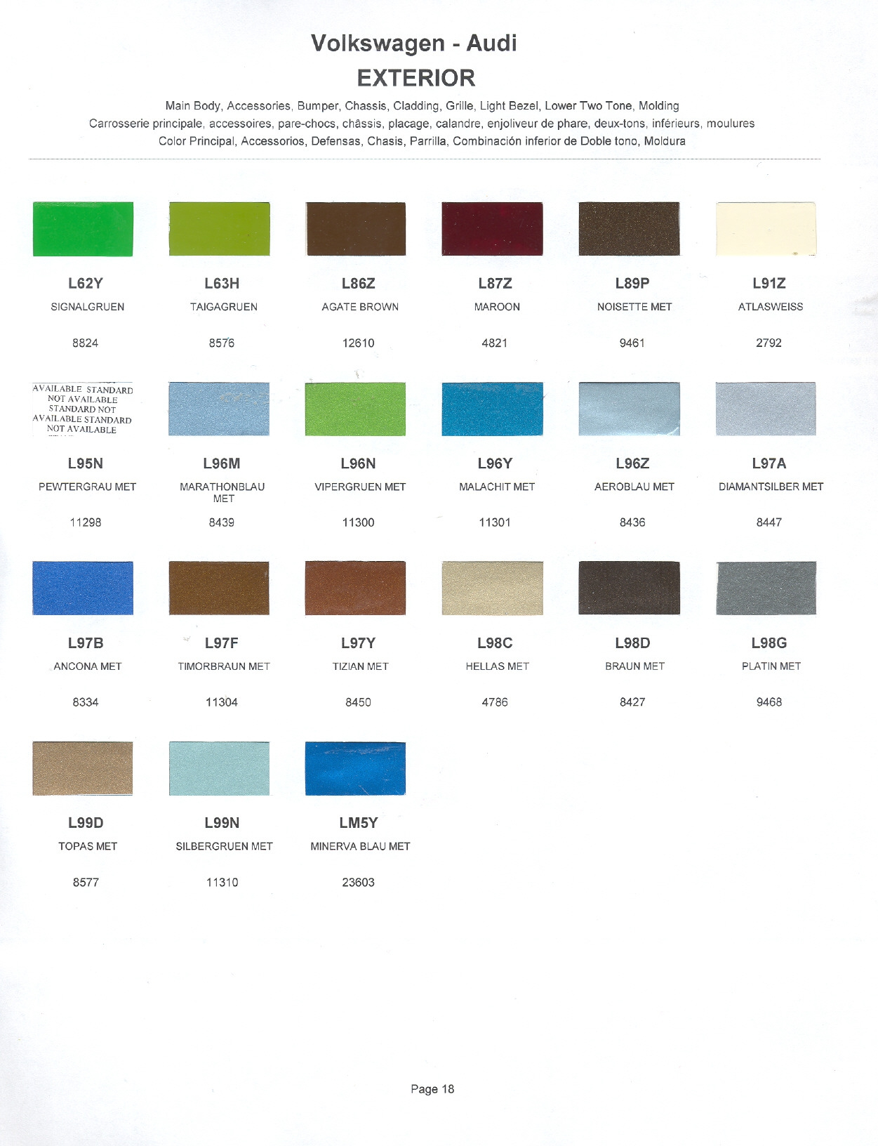 Volkswagen and Audi Paint Code Color Chart